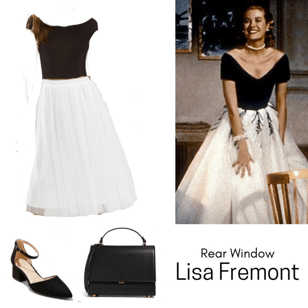 Rear Window inspired outfit for the mystery genre - White skirt, black top, black purse, black heels