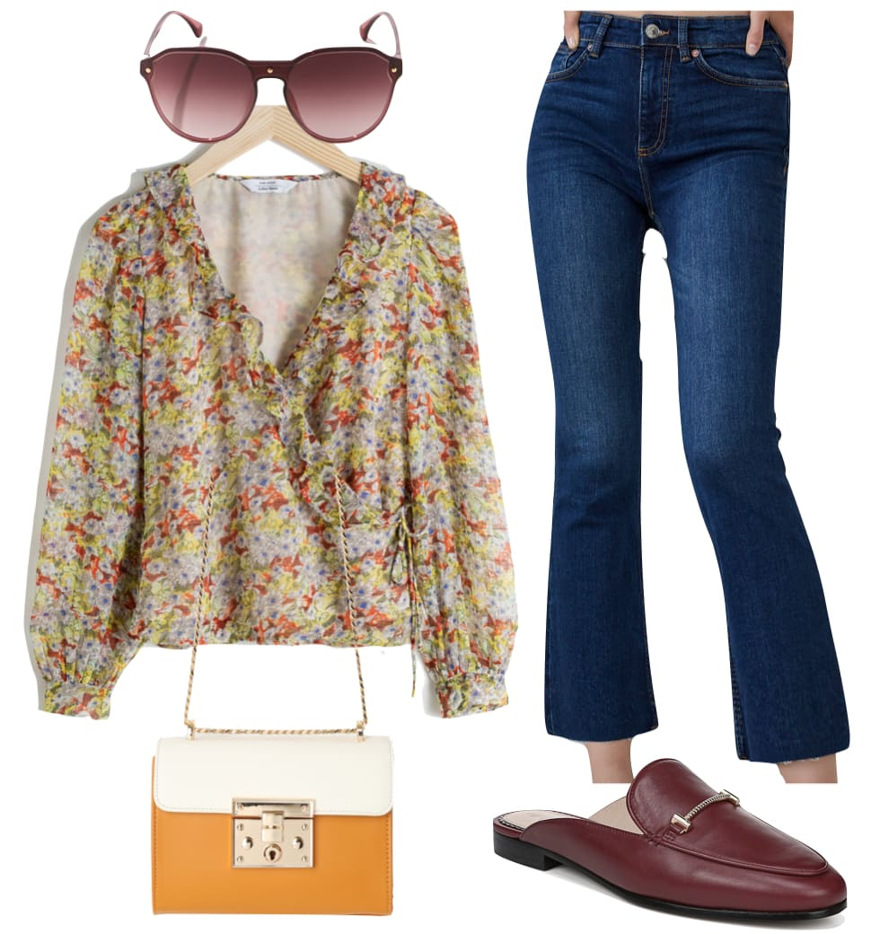 Lucy Hale London Outfit 1: yellow floral print blouse, dark raw hem crop flared jeans, round burgundy sunglasses, burgundy loafer mules, and two tone yellow and cream color block crossbody bag