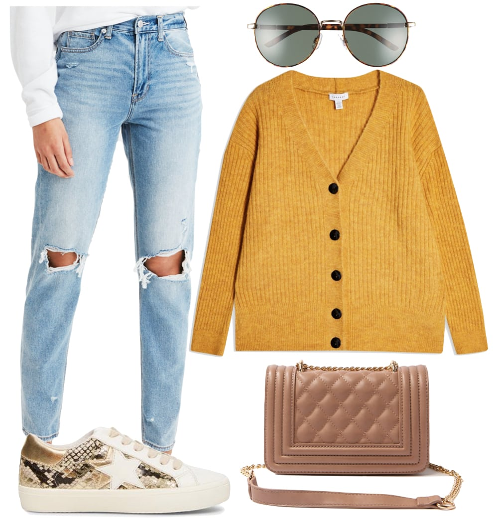 Lucy Hale London Outfit 2: ripped knee mom jeans, yellow cardigan sweater, round sunglasses, taupe quilted chainlink crossbody bag, and white low top snake print sneakers