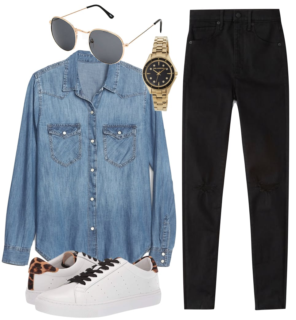 Lucy Hale Paris Outfit: denim button down shirt, black skinny jeans, round black and gold sunglasses, a two tone watch, and leopard print low top sneakers