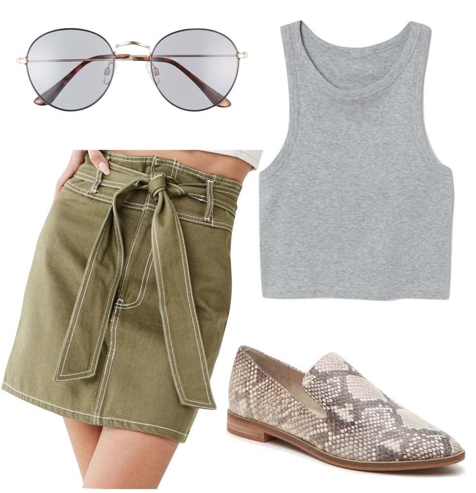 Lucy Hale Outfit: khaki green high-waisted tie-belt skirt, gray racer-back tank top, round metal sunglasses, and snakeskin print loafer flats
