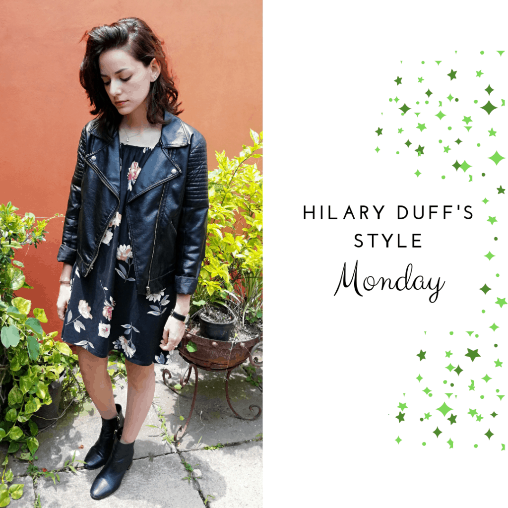 Hilary Duff's Style Monday: floral dress, leather jacket, booties