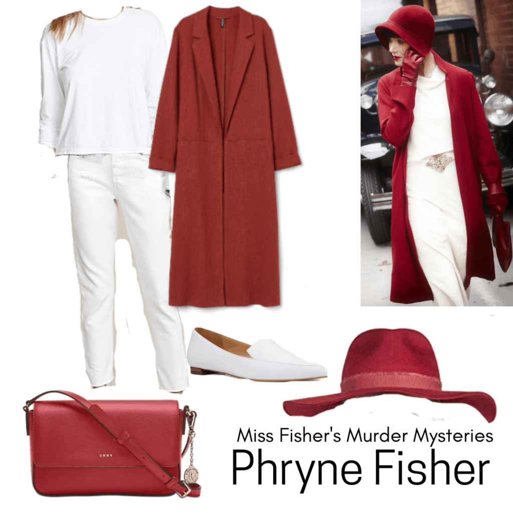 Miss Fisher's Murder Mysteries fashion - outfit inspired by Phryne Fisher with red coat and white pants