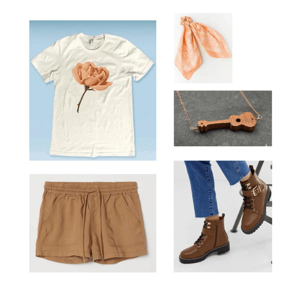 Orpheus outfit; flower graphic tee, khaki shorts, bandana scrunchie, boots, guitar necklace.