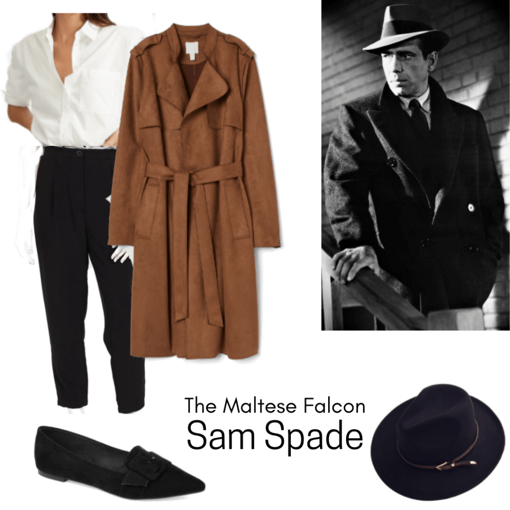 Sam Spade Maltese Falcon inspired outfit with black pants, camel coat, loafers, black hat