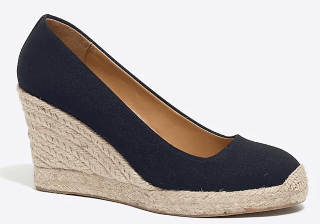 Best summer heels - J.Crew Factory espadrille wedges in Navy