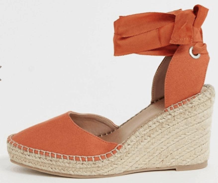 Lace up espadrille wedges in orange -best comfortable heels summer 2019