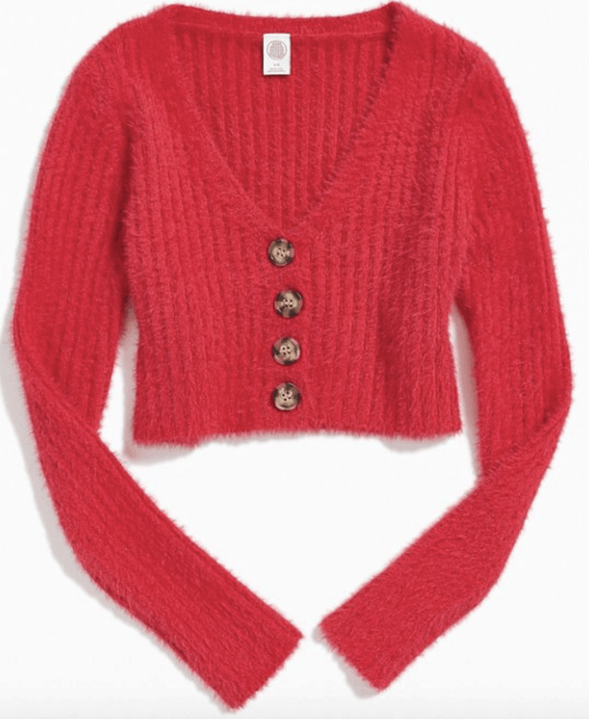 Cropped cardigan in red with tortoiseshell buttons