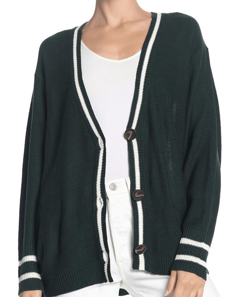 Dark green stripe cardigan