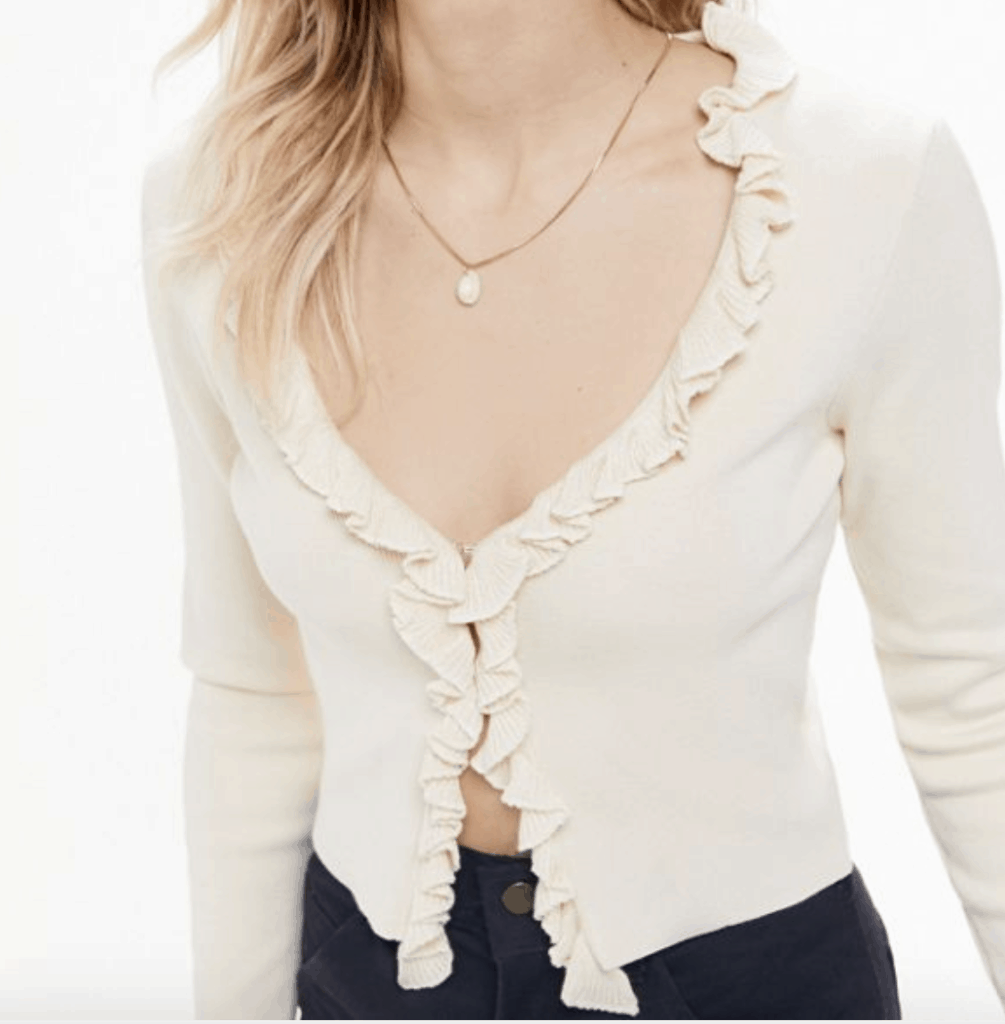 Fall cardigans - ribbed ruffle cardigan in cream from Urban Outfitters