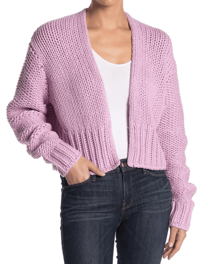 Purple knit cardigan from Free People