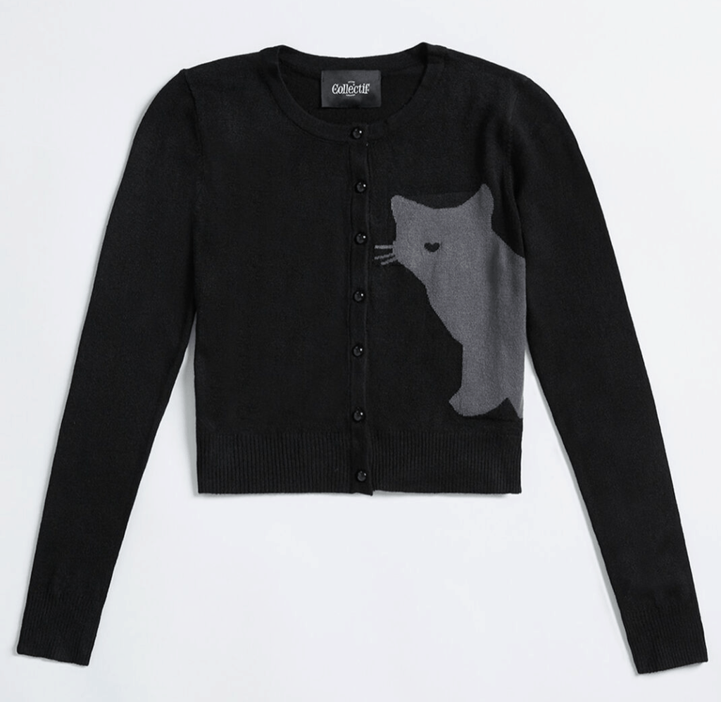 Best fall cardigans - cat cardigan in black from Modcloth