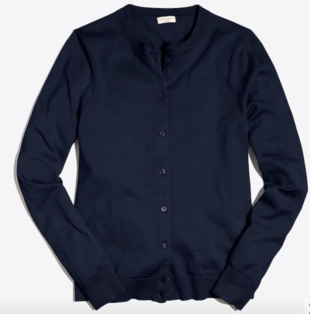 Classic cardigan from J.Crew in Navy - best fall cardigans