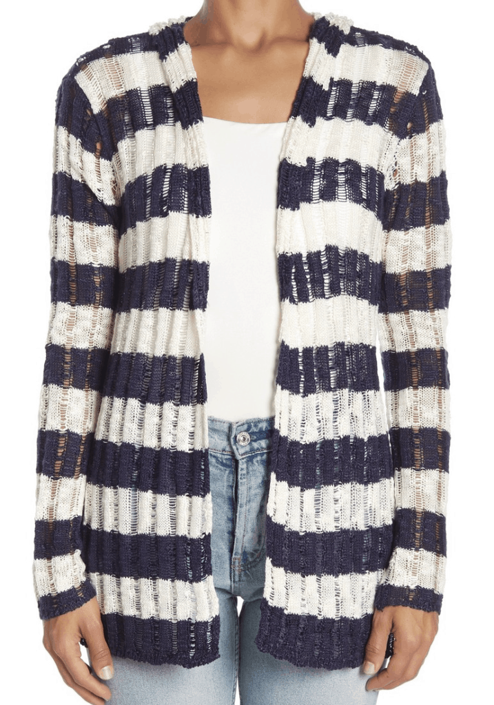 Hooded cardigan in navy and white stripes