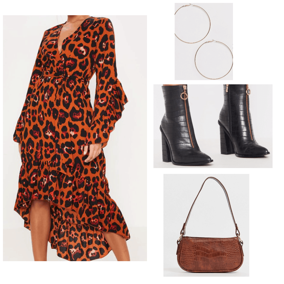 Veronica Mars outfit inspired by Nicole's style in Season 4 - patterned dress, black ankle boots, hoops, top handle bag