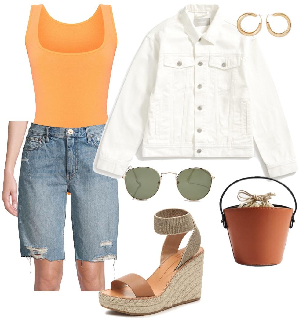 Selena Gomez Outfit: orange bodysuit, white denim jacket, longline denim shorts, chunky gold hoop earrings, round metal sunglasses, brown bucket bag, and beige wedge sandals