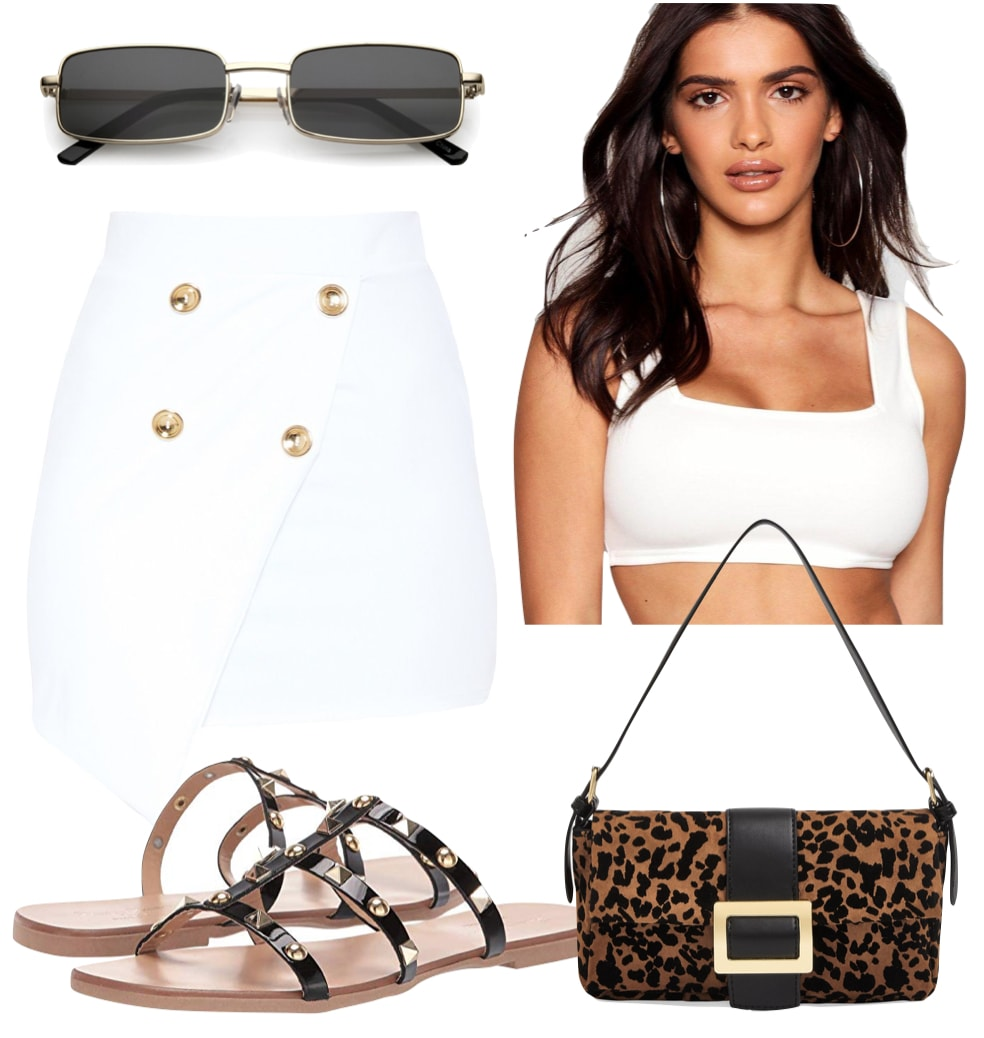 Sofia Richie Outfit: white square neck crop top, white mini skirt with gold buttons, black rectangle sunglasses, printed shoulder bag, and black studded flat sandals