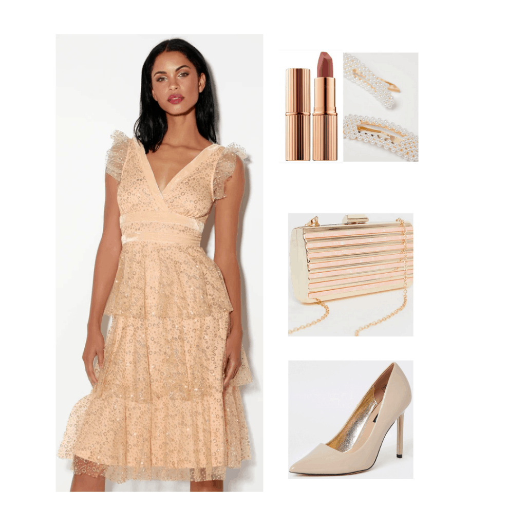 Taylor Swift Daylight inspired outfit with lace dress, nude pumps, rose gold purse