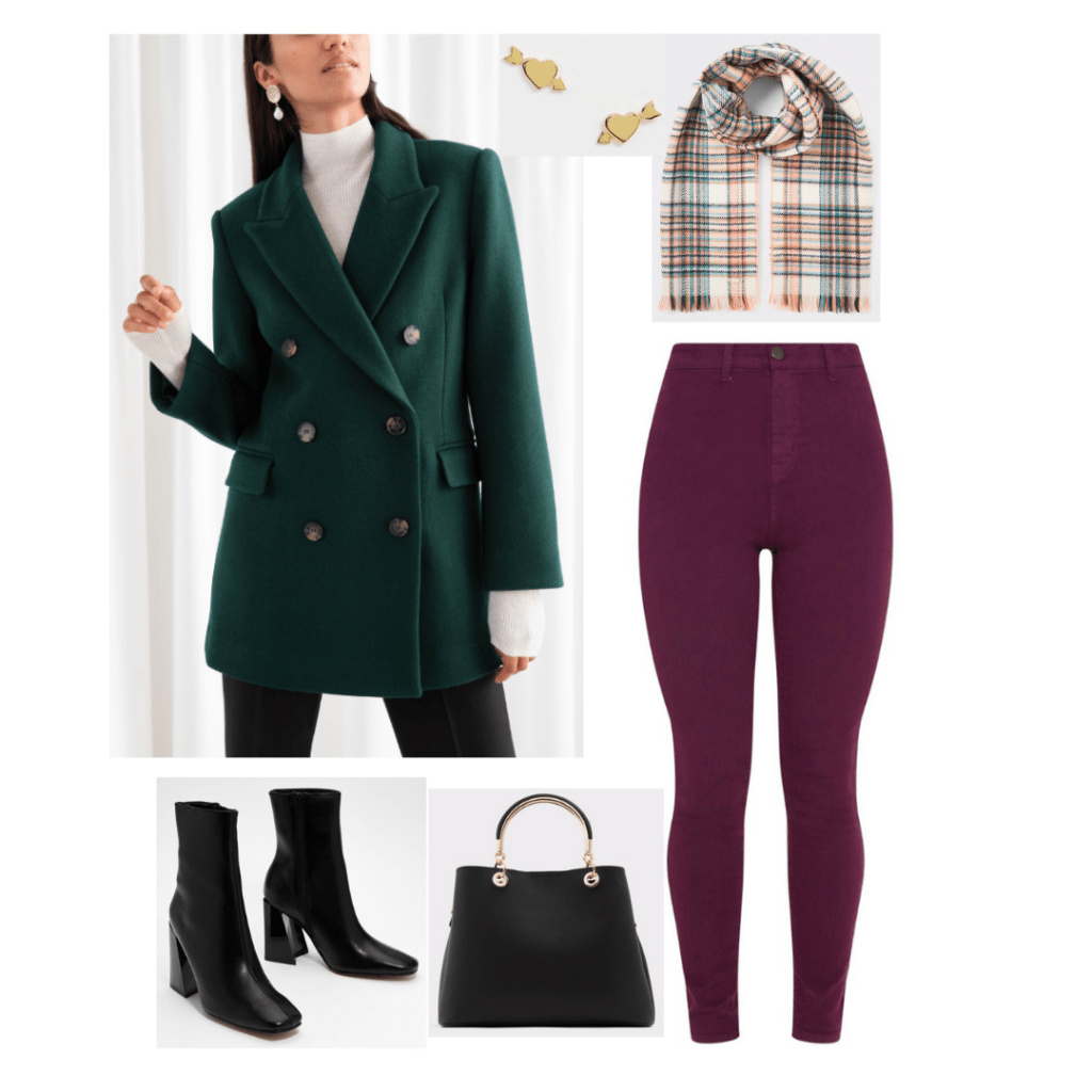 Taylor Swift Lover fashion - Outfit inspired by the track Cornelia Street with purple jeans, green double breasted blazer, checkered scarf, black boots