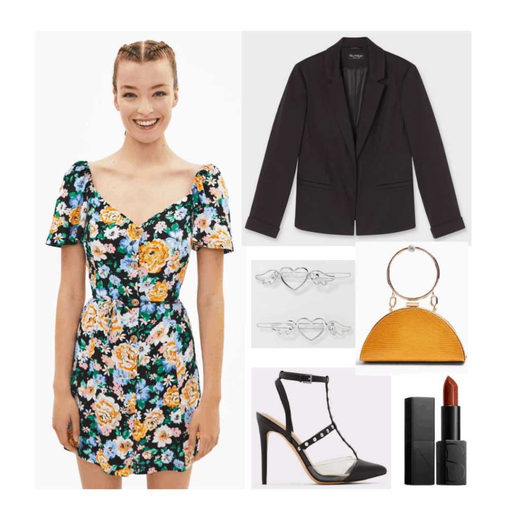 Taylor Swift Lover fashion - outfit inspired by Cruel Summer with floral dress, black blazer, mustard yellow bag, studded heels