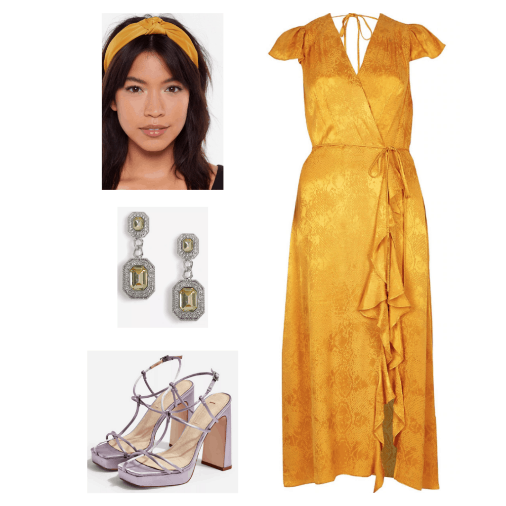 Taylor Swift Lover fashion inspiration - outfit inspired by the Lover music video with yellow dress, strappy heels, yellow headband and earrings