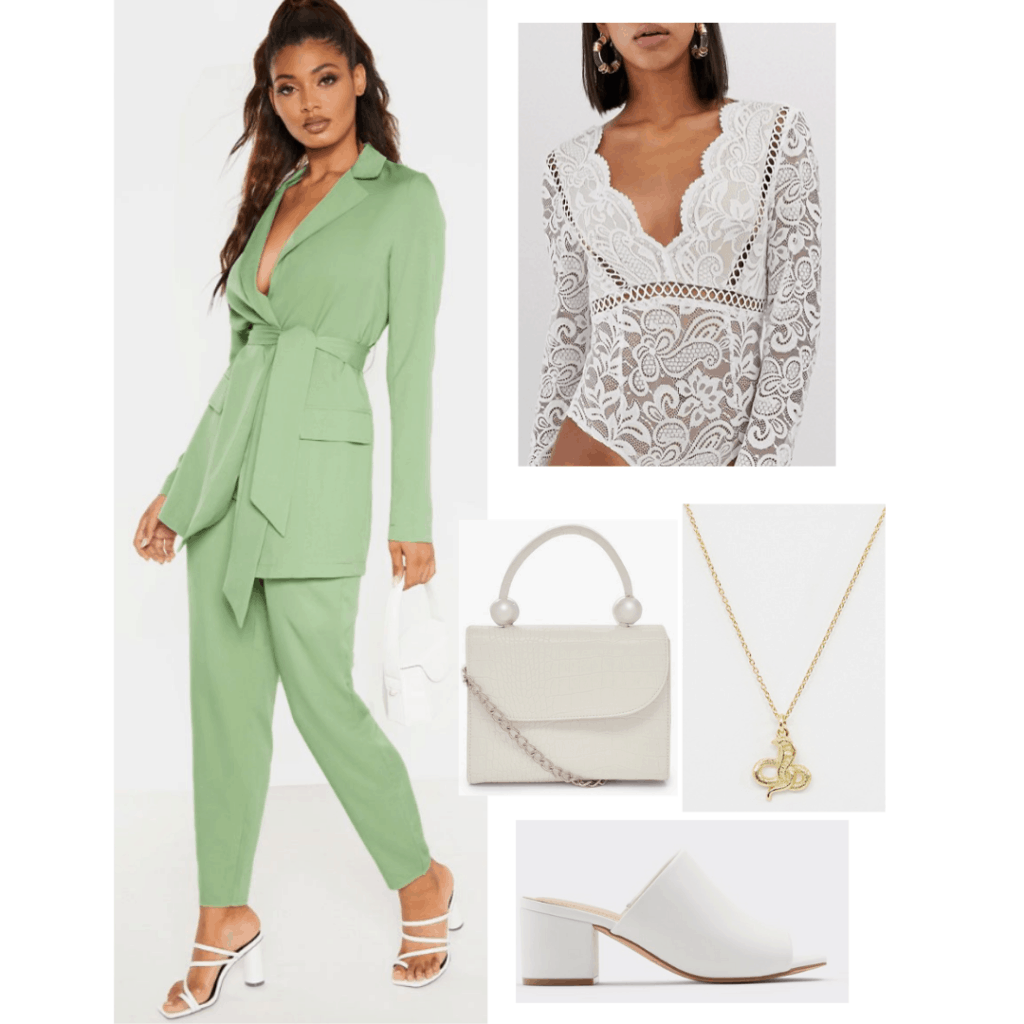 Outfits inspired by Taylor Swift's Lover album - green suit and white lace bodysuit inspired by The Man