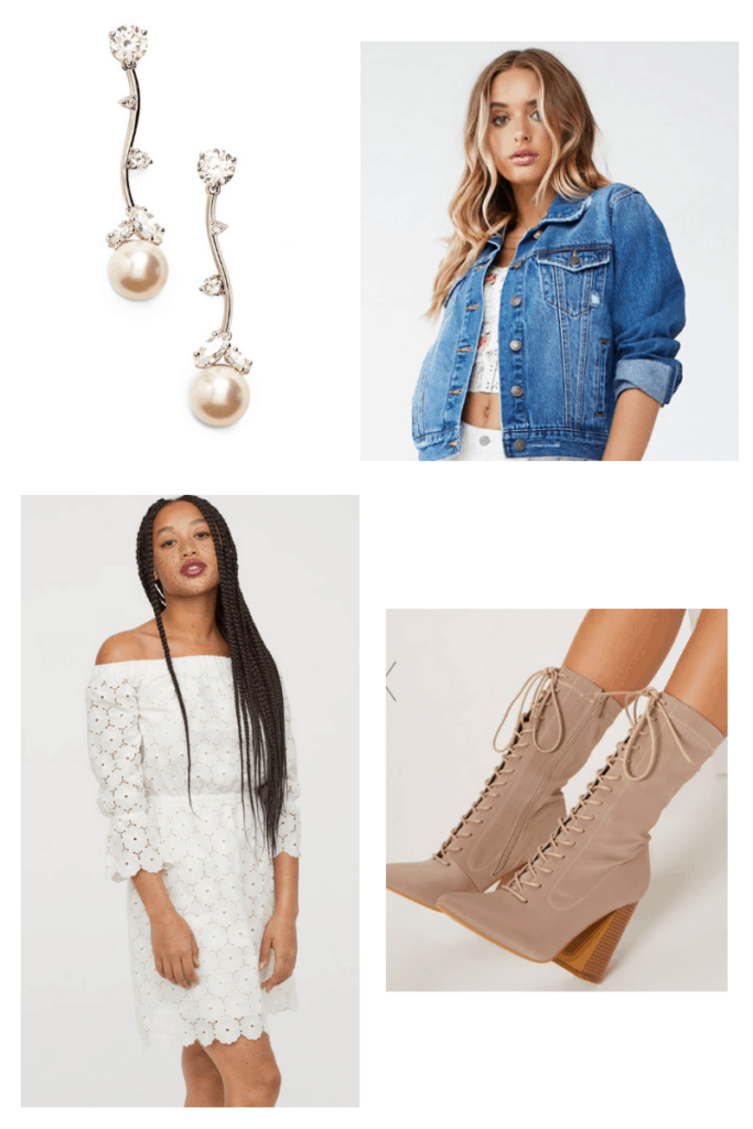 French singer inspired outfit college fashion - outfit inspired by Indila with little white lace dress, lace up ankle boots, oversized denim jacket, pearl earrings