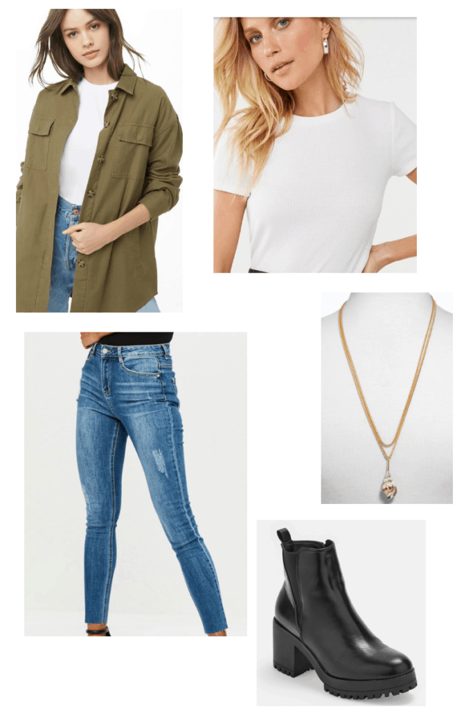 French singer inspired outfit college fashion - Aya Nakamura fashion with medium wash jeans, white tee, oversized green jacket, gold shell necklace