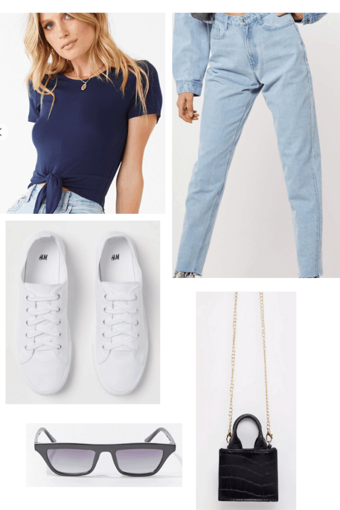 Outfit inspired by the French singer Tal's style with white sneakers, mom jeans, tie waist tee shirt, black chain strap bag, and black sunglasses