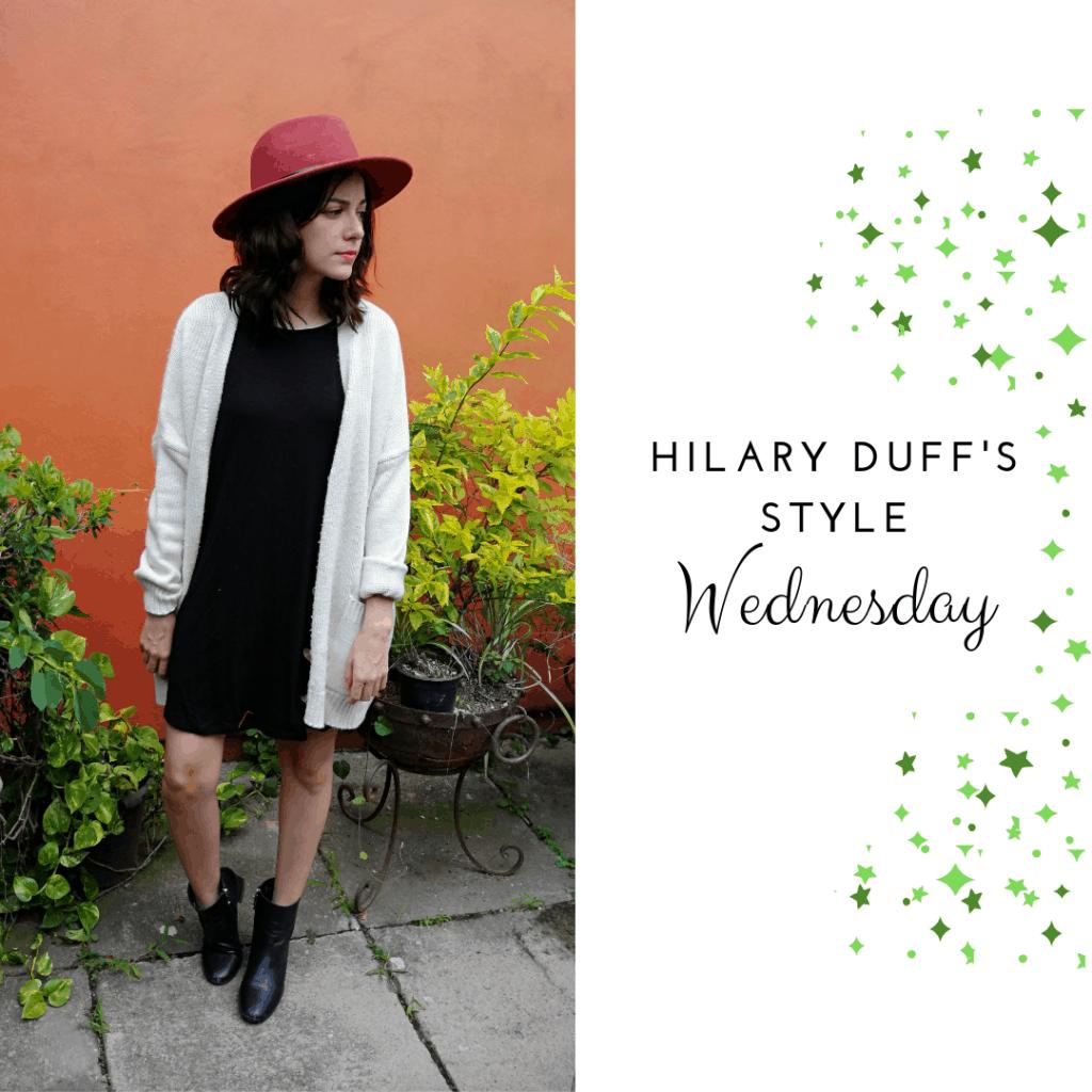Hilary Duff's Style Wednesday: black dress, cardigan, booties, hat