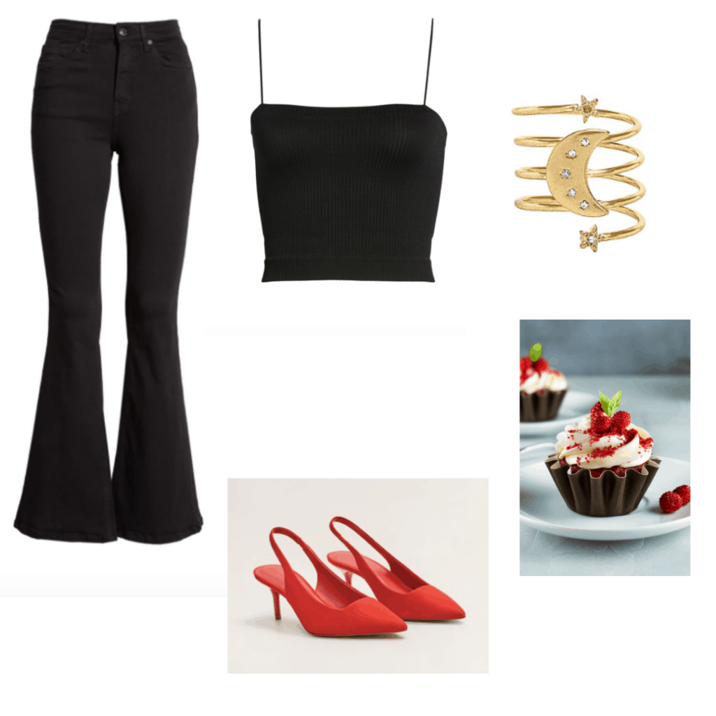 Birthday outfits - cute all black birthday outfit with flared jeans and red shoes