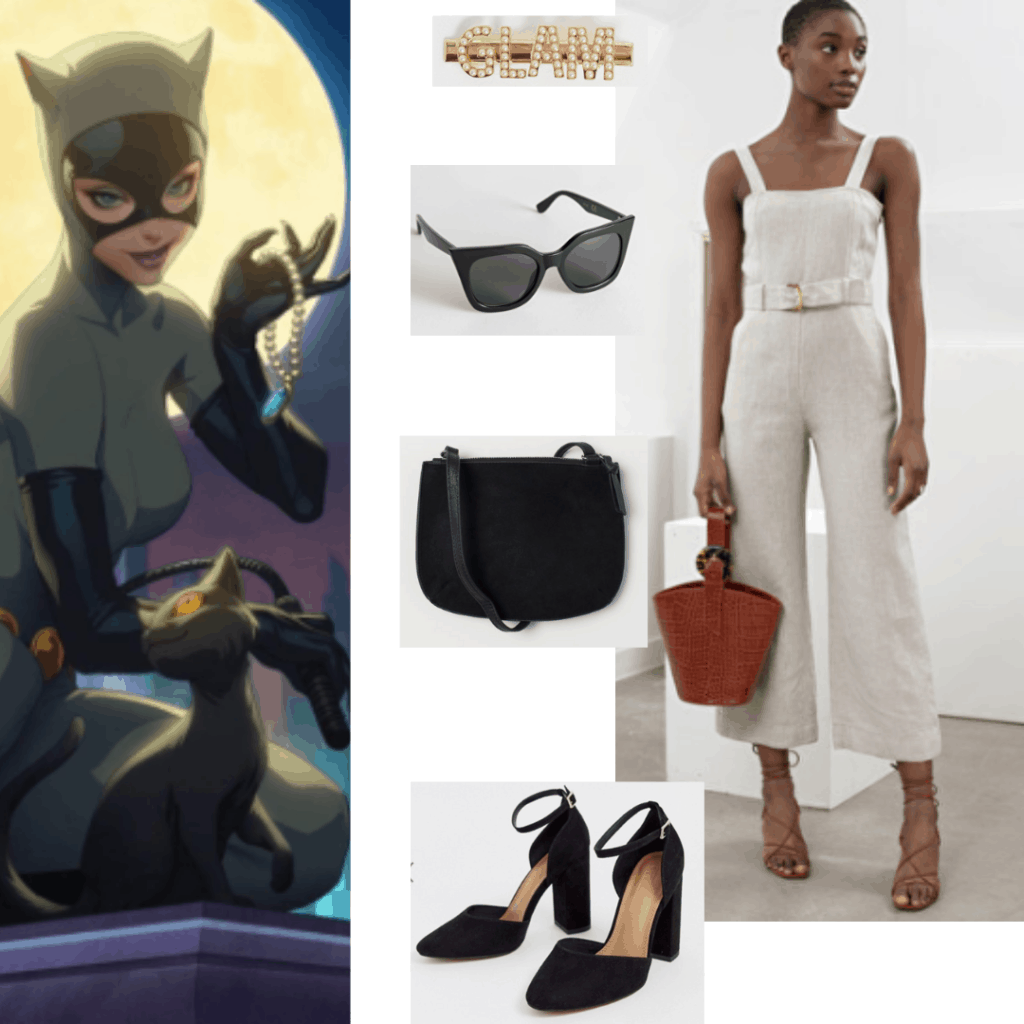 Outfit inspired by catwoman from the animated series with gray jumpsuit and black accessories