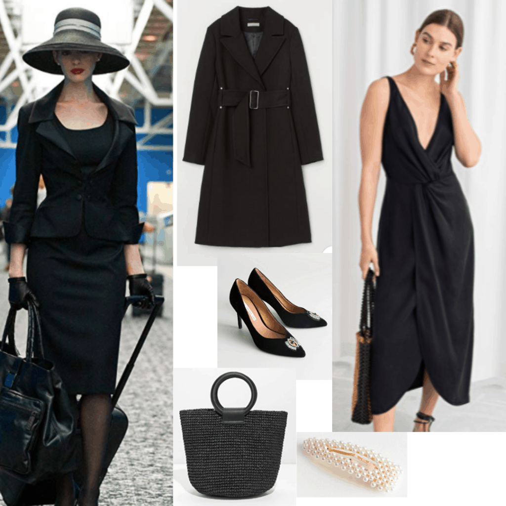 Catwoman outfits - Look inspired by Anne Hathaway's version of Catwoman in The Dark Knight Rises with black dress, long black coat, pearls