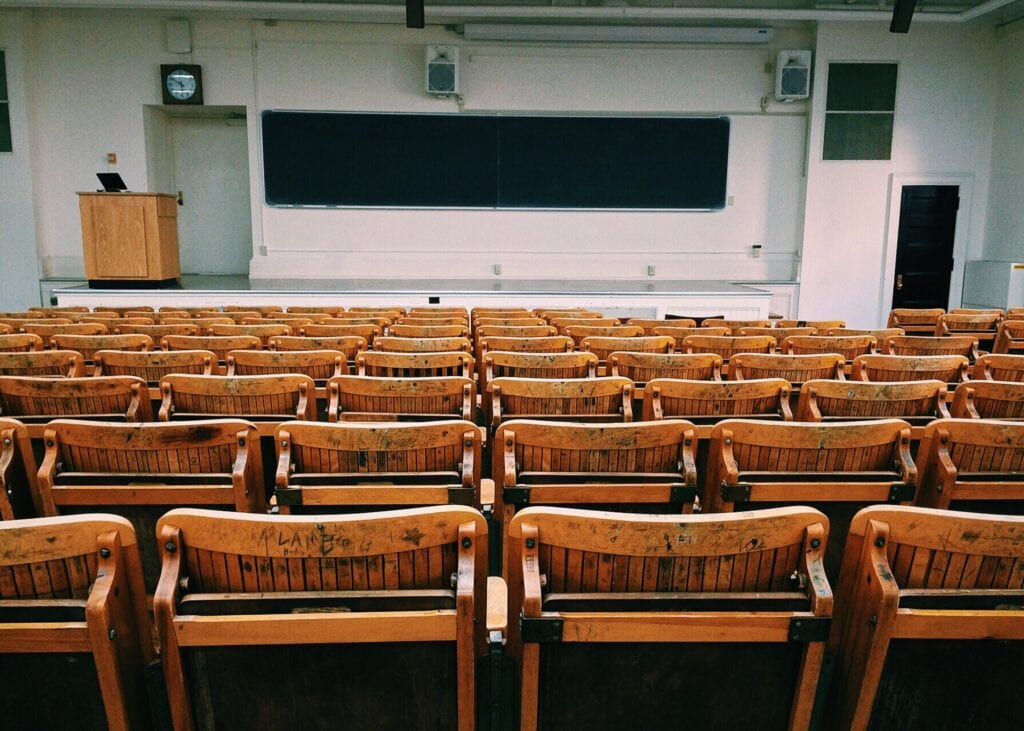 Empty college lecture hall.