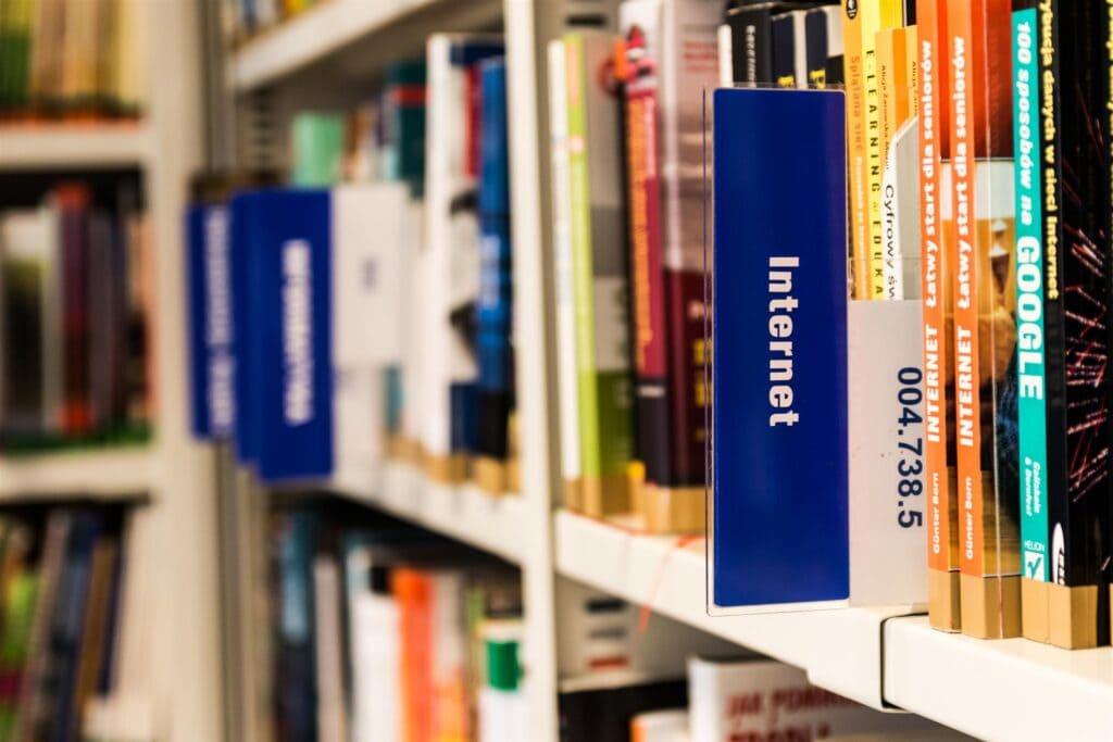labeled bookshelf