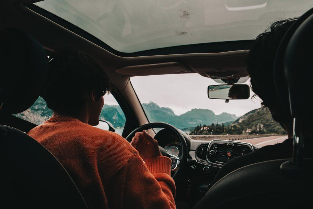 Friends in car.