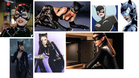 Catwoman's style over time - photos of different Catwomans throughout history