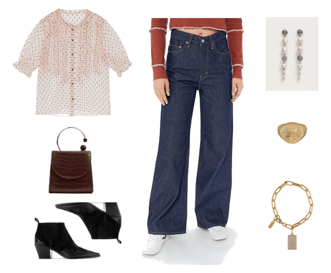 Fall denim trends for 2019: Outfit #1: Wide-Leg Jeans with polka dot blouse, chunky heel ankle boots, simple jewelry