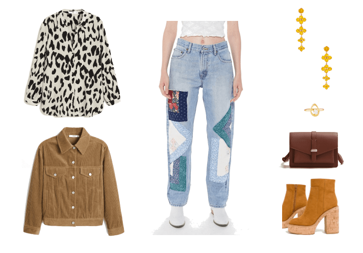 Outfit #2: Patchwork Jeans look with printed blouse, platform boots, corduroy jacket