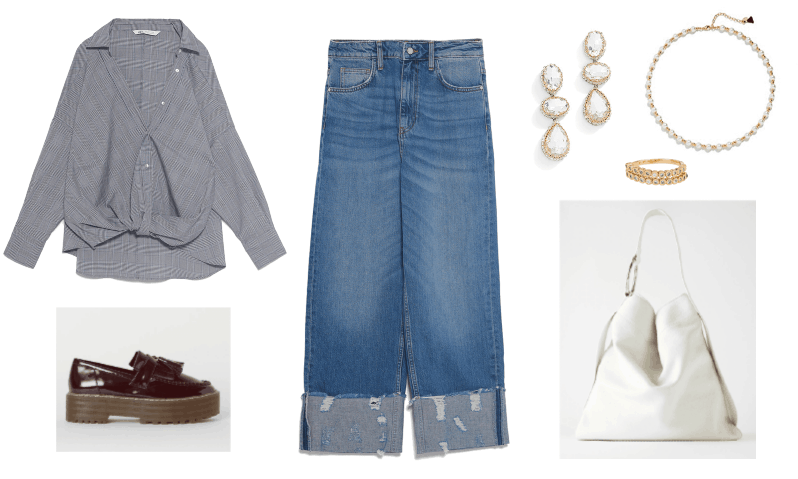 Outfit #3: Straight-Leg Jeans outfit with button down blouse, slouchy bag, chunky shoes