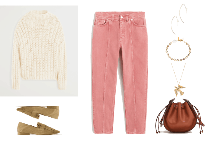 Fall denim trends Outfit #4: Seamed Jeans with pink corduroy jeans, sweater, loafers