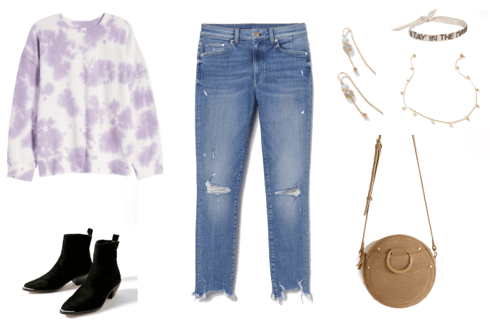 Skinny jeans outfit with ripped skinnies, black pointed toe boots, tie dye sweatshirt, circle crossbody