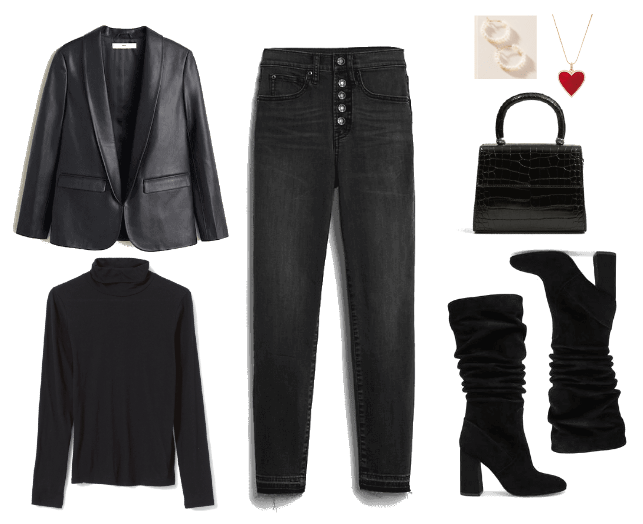 All black outfit idea with black skinny jeans, black turtleneck, black knee high boots, top handle bag, black leather blazer