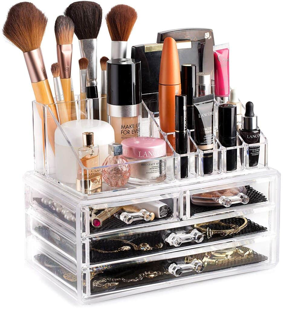 Clear makeup organizer for college