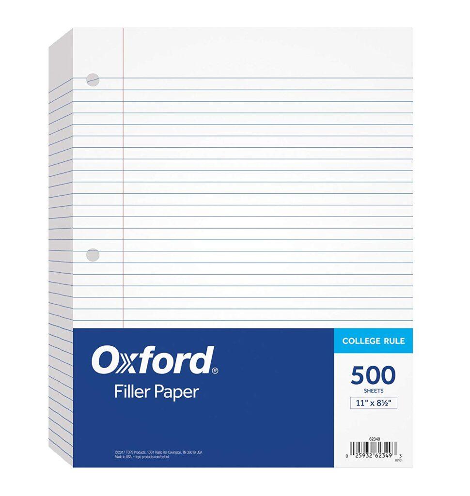 College school supplies list - filler paper