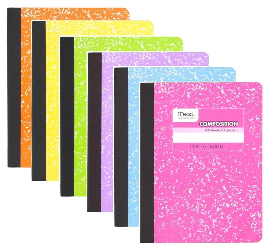 Composition notebooks in a rainbow of colors - college school supplies