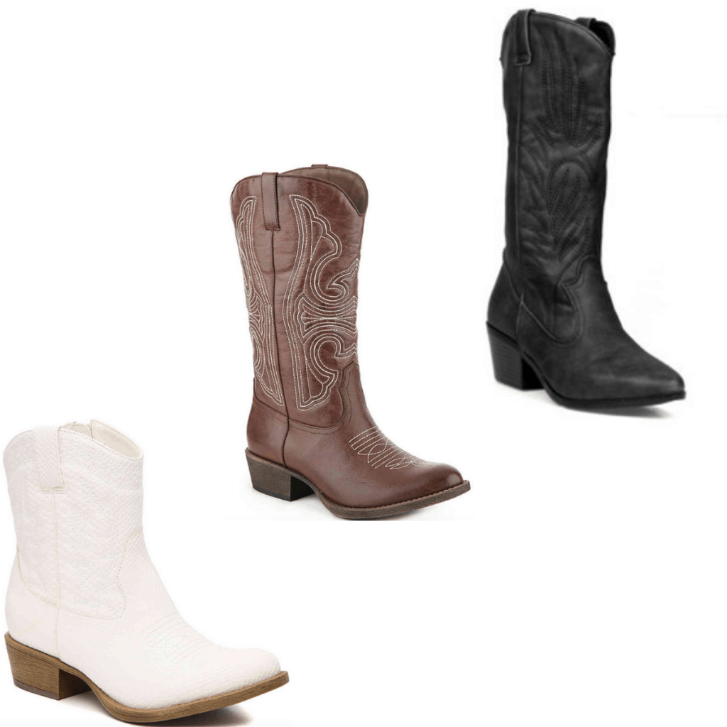College theme party clothes - Black, brown and white cowboy boots.