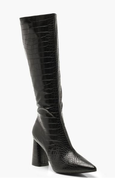 Croc slouchy knee high boots from Boohoo