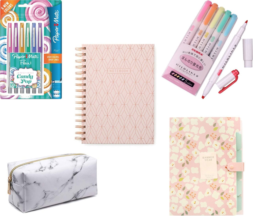 Cute school supplies for college: Colored pens, midliners, marble pencil case, printed file folder, printed notebook