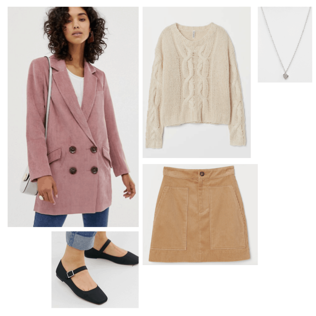 Girl interrupted fashion - Outfit inspired by Daisy's style with pink jacket, knit sweater, corduroy skirt